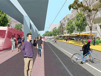 Artist Impression – JMD Anzac Parade Light Rail and Widnended Boulevard