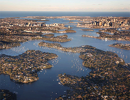 Aerial view of the North Shore and the CBD looking east