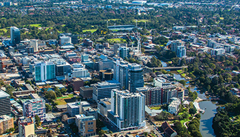Aerial view of the Parramatta CBD and surrounds