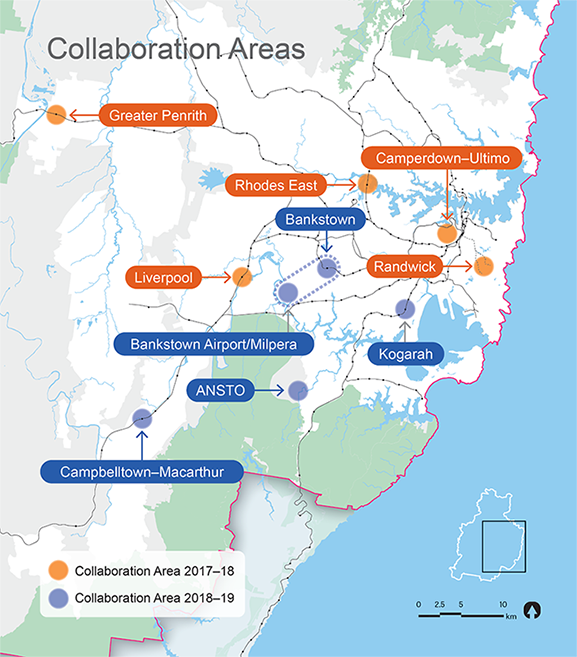 Map showing location of Collaboration Areas