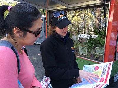 Two women reading a bush fire survival guide