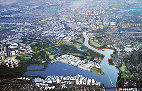 An aerial view of the Parramatta CBD and surrounding suburb with the Parramatta River in the foreground.