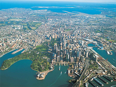 Aerial view of Sydney CBD