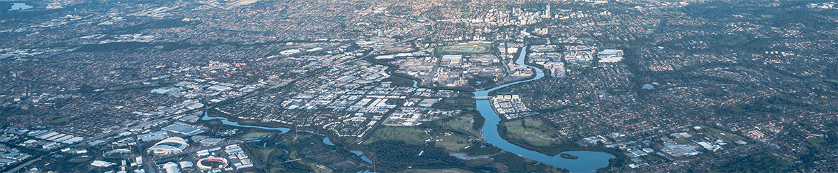 Aerial view of the GPOP area including Olympic Park and the Parramatta CBD
