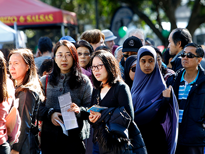 A group of people attending the Bankstown Bites event.