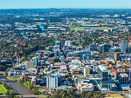 Aerial view of Parramatta CBD with Sydney CBD in the distance