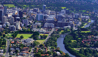 Aerial view of the Parramatta CBD