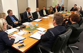 The inaugural Greater Sydney Commission meeting held on 2 May 2016 with Minister Rob Stokes, CEO Sarah Hill, Chief Commissioner Lucy Turnbull, the three GSC Commissioners, six District Commissioners and ex-officio members in attendance.