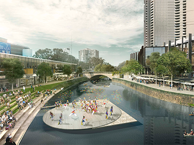 Artist impression of Parramatta River with a floating performance space